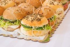 Miniburgers of sanwiches met ham, kaas, letuce en groenten in het zuur stock foto's