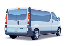 Minibus. Commercial vehicle - silver passenger minibus - colored and layout Royalty Free Stock Images
