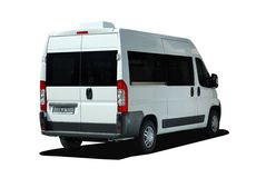 Minibus back view stock images