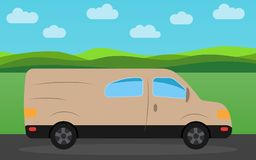 Minibus in the background of nature landscape in the daytime. Vector illustration Royalty Free Stock Photography