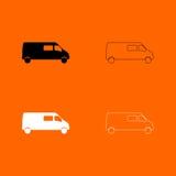Minibus black and white set icon . Minibus black and white set  icon Royalty Free Stock Photos