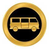 Minibus button on white. Minibus button on white background. Vector illustration Stock Photos