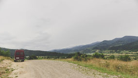 Minibus in the Carpathian Mountains Royalty Free Stock Photography
