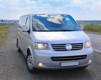Minibus on the country highway Royalty Free Stock Images