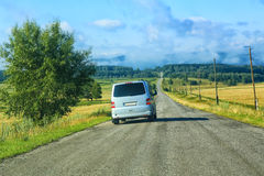 Minibus on the country highway Royalty Free Stock Photo