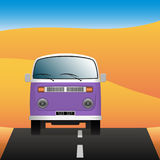 Minibus on a deserted road. Transport in the landscape. Vector Image. Minibus on a deserted road. Transport in the landscape. Vector illustration Stock Image
