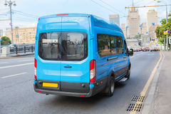 Minibus goes on the city Stock Image