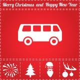 Minibus Icon Vector. And bonus symbol for New Year - Santa Claus, Christmas Tree, Firework, Balls on deer antlers Royalty Free Stock Image