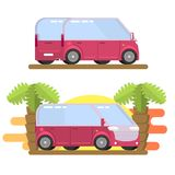 Minibus image in flat style. Vector, image, travel Stock Photos