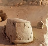 A Minibus made from sand. Signifies the joy of going on a trip across the USA Royalty Free Stock Photos