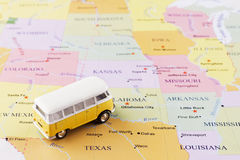 Minibus on map Royalty Free Stock Images