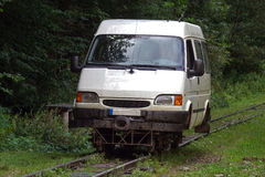 Minibus on rails. Modified minibus running on the narrow gauge railways on the Vaser Valley, Maramures County, Romania Royalty Free Stock Photography