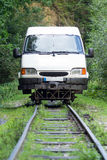 Minibus on rails Royalty Free Stock Photography