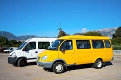 Minibus sul parcheggio Fotografia Stock