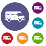 Minibus taxi icons set. In flat circle reb, blue and green color for web Stock Photo