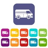 Minibus taxi icons set. Vector illustration in flat style In colors red, blue, green and other Royalty Free Stock Photo