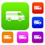 Minibus taxi set collection. Minibus taxi set icon in different colors isolated vector illustration. Premium collection Royalty Free Stock Photography