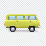 Minibus on transparent background. Yellow minibus on transparent background, vector illustration for your presentation, posters, cover and other design Stock Photos
