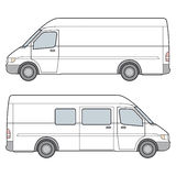 Minibus. Vector Illustration. Side View of white minibus. Vector Illustration Royalty Free Stock Image