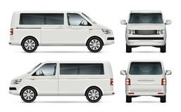Minibus vector template. Mini bus vector template for car branding and advertising. Isolated city minibus on white background. All layers and groups well Royalty Free Stock Photography