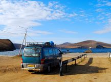 Minibus wait for a car ferry Royalty Free Stock Images
