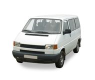 Minibus on white. White passenger minibus on white. Isolated whith clipping path Royalty Free Stock Images