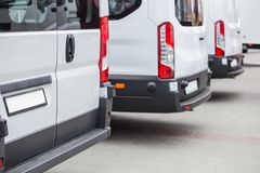 Minibuses In The Parking Lot At The Bus Stop Royalty Free Stock Photos