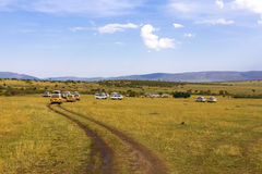 Minibuses at safari Stock Photo