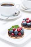 Minicakes met chocoladeroom en bessen en koffie Stock Foto's