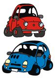 Minicars. Drawing of two funny minicars, little fiat 500 and renaul twingo Stock Photography