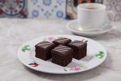 Minichocoladecakes Stock Afbeeldingen