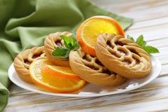 Minidesserttaartjes met sinaasappel Stock Afbeelding