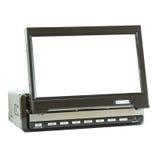 MinidieLCD TV voor auto op wit wordt geïsoleerd Stock Fotografie