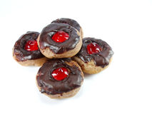 Minidoughnuts met Chocolade op Witte Achtergrond Stock Foto's