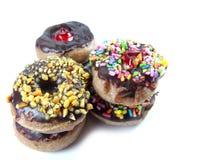 Minidoughnuts met Chocolade op Witte Achtergrond Royalty-vrije Stock Afbeelding