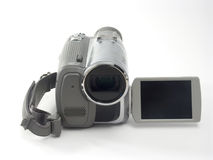 MiniDV Camcorder. In front view with extended monitor isolated on white Royalty Free Stock Photo