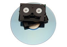 MiniDV Tape over DVD Stock Images