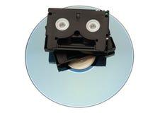 MiniDV Tape over DVD Stock Images