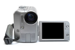 MiniDV videocamera facing us on white background. LCD screen isolated Stock Images