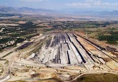 Miniera a cielo aperto di carbone, aerea Fotografia Stock