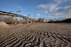 Miniera a cielo aperto per la sabbia e la ghiaia Fotografia Stock