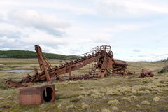 Miniera d'oro abbandonata nel lago Lago Blanco Fotografia Stock Libera da Diritti