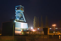 Miniera di carbone alla notte fotografia stock