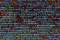 Minificated javascript code. Computer programming source code abstract screen of web developer. Digital technology modern backgrou Stock Photography
