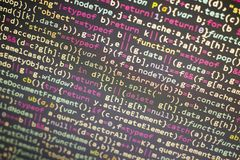 Minificated javascript code. Computer programming source code abstract screen of web developer. Digital technology modern backgrou Royalty Free Stock Photography