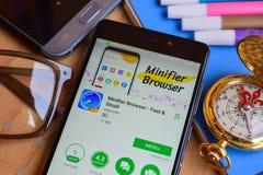 Minifier Browser - Fast & Small dev app on Smartphone screen. BEKASI, WEST JAVA, INDONESIA. SEPTEMBER 2, 2018 : Minifier Browser - Fast & Small dev app on royalty free stock photos