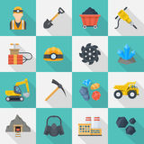 Minig industry icon cartoon set. Minig industry icon set, infographics or brochure pictures in squares, coal, mineral and precious metals extraction. Vector flat Royalty Free Stock Photo