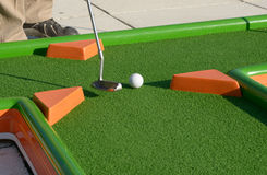 Minigolf ball on a course Royalty Free Stock Image