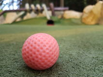 Minigolf course in the Bavarian Forest (Germany). This image is taken in St.Englmar on the minigolf course in the forest Stock Photo