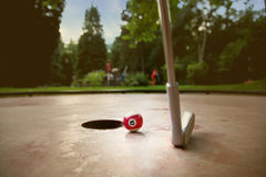 Minigolf spelareförsök att sätta en liten billardboll Arkivbilder